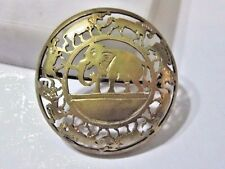 Silver Plate Rounded Detailed Primitive Elephant Round Carved Pin Brass Over