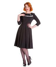 New XS 8 Vintage Look Black Ivory Collar Dress Hellbunny 1950's Retro Work 1940s