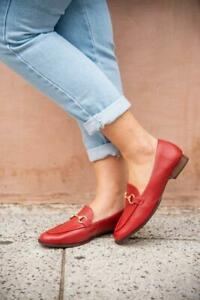 Genuine Leather Horsebit Loafer, red