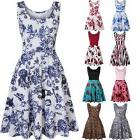 Womens Sleeveless O-Neck Mini Dress Print Summer Beach A Line Casual Short Dress