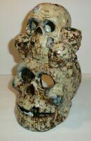 Vtg Skulls Sculpture Statue Figure Gothic Votive Candle Holder Incense Halloween