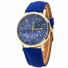 Ladies Fashion Gold Tone Quartz Star Patterned Blue Dial Blue Band Wrist Watch.
