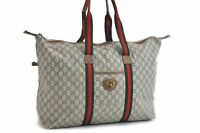 Auth GUCCI GG Plus Web Sherry Line Shoulder Tote Bag PVC Leather Brown 81637