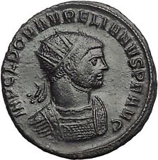AURELIAN receiving wreath from woman  274AD Rare Ancient Roman Coin i55626