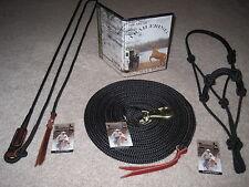 THOMEY NATURAL HORSE TRAINING SET ~ STICK, 23' LONG LINE, HALTER & DVD ~ BLACK