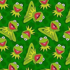 Fabric Kermit the Frog Sesame Street Full on Green Cotton 1 Yard