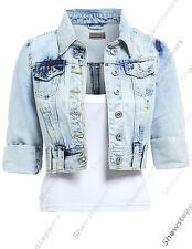 NEW DENIM JACKET LADIES Jean Jackets Womens Waistcoat Cropped Size 8 10 12 14 16