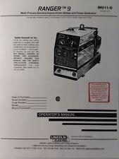 Lincoln Ranger 9 Welder Generator Amp Kohler Ch20 Engine Operators 2 Manual S