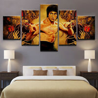 Bruce Lee Kung Fu Superstar 5 Panel Canvas Print Wall Art