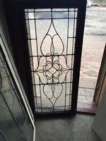 Sg 469 Antique Transom Window Beveled Glass Center Textured