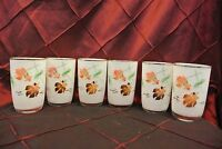 Set of 6 Vintage White  Glass Gold Trim Decorated with Gold Fish Tumblers