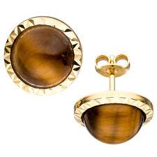 Ohrstecker rund 585 Gold Gelbgold 2 Tigeraugen braun Ohrringe