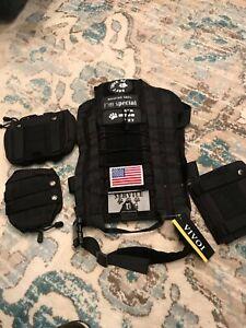 Vivoi Tactical Military Service Dog Vest With Detachable Pouches Black