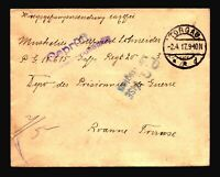 Germany 1917 POW Cover to France / TROGAU CDS / Censored - Z14399