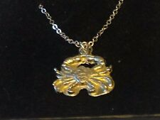 """Crab TG299 Pewter On 18"""" Silver Plated Curb Necklace"""