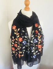 Gorgeous Quality Embroidered Floral In Black Circle Scarf Snood Shawl Wrap