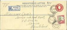 Basutoland Registered Postal Envelope HG:C5a uprated SG#72 QACHASNEK