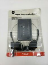Vintage GE AM/FM Stereo Headset Radio 7-1637S Headphones and Belt Clip - NEW (J)