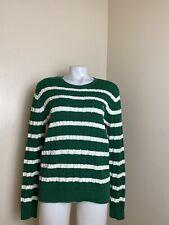 Lauren Ralph Lauren XL Women's Sweater Striped Green White Cotton Long Sleeve