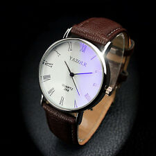2015 Hot Luxury Fashion Faux Leather Mens Analog Watch Watches Brown Strap Elega