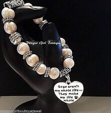 """Paw Print Bracelet Heart Dog Faux Pearl """"Dogs Make My Life Whole"""" Silver Plated"""