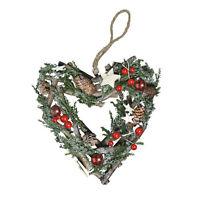 Theme Machine 24cm Christmas Wreath Heart Star Red Berries Natural White