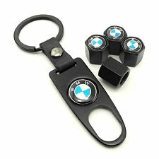Set of 4 Car Tire Valve Stem Air Caps Cover + Keychain Accessories For BMW
