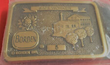 Vintage Borden Safe worker 5 year brass belt buckle made in USA 1983 2-1/2X3-1/2