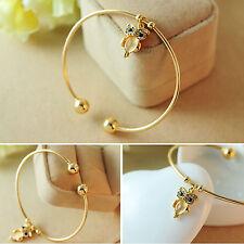 Retro Women Cat Eye Cute Crystal Owl Charm Bracelet Gold Plated Bangle Jewelry
