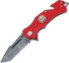 "MTech Xtreme Rescue Linerlock A/O Red Knife MX-A810RD 4 1/2"" closed. 3"" assisted"