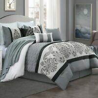 7 Piece Embroidery Comforter Set, Luxurious Microfiber Soft Bedding Sets (21586)