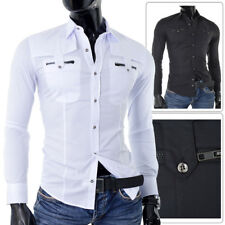 Mens Casual Shirt Party Clubbing White Black Slim Fit Zippers Epaulettes UK SIZE
