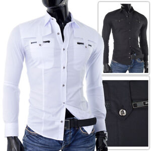 Casual shirts for men Epaulettes with Zippers White or Black Slim Fit UK SIZE