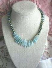 ~ Natural Faceted Green Crystal and Amazonite Gemstone Necklace ~