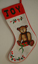 """Handmade Needlepoint Christmas """"JOY"""" Toy Bear Finished Piece 15""""  B37"""