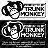 PROTECTED BY TRUNK MONKEY Vinyl Decal Sticker Button Funny Meme Chimpanzee JDM