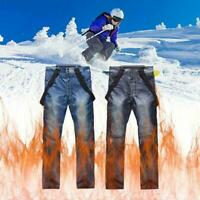 Mens Ski Snow Pants Denim Thick Super Warm Waterproof Outdoor Snowboard Jea E3L8