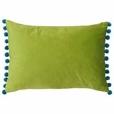 LUXURY VELVET POM POM GREEN TEAL SOFT 35X50CM BOUDOIR CUSHION COVER