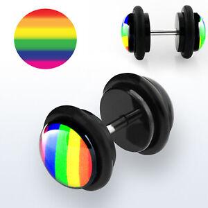 Rainbow Pride - Fake Plug Earrings - SURGICAL STEEL BAR - Single or Pair