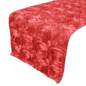Satin Rosette/Raised Roses/Floral Ribbon Table Runner for Wedding/Special Events