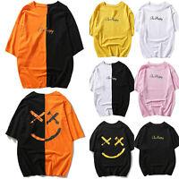 Men Summer Letter Print Casual T Shirt Tops Oversized Shirts Blouse Hip Hop Tees