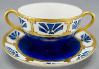 Pair of T&V Limoges Hand Painted Signed Art Deco Cobalt & Gold Bouillon Cups B