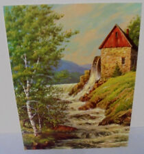 Robert Wood, Water Wheel, Mill Trees, Mt's, Stream, Salesman Sample Print, 1960s