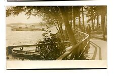 Vintage Postcard  RPPC Ferry Boat sinking in Lake view from Park
