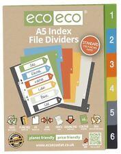 12 Sets X 6pk Eco-Eco A5 50% de plástico reciclado amplia carpeta de archivo índice divisores