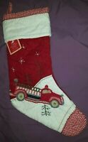NO MONO New Pottery Barn Kids FIRE TRUCK ENGINE Christmas Stocking gingham toe