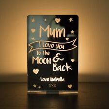 "Personalised MUM ""I Love You To The Moon & Back"" Tea Light Holder Candle Gift"