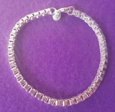 925 Silver Plated Box Chain Bracelet Unisex + Free Gift Bag