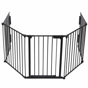Metal 5-Panel Pet Dog Gate Fence with Lockable Door in 2 Directions 5-in-1 Fence