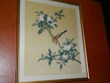 TABLEAU sur SOIE bild silk Vögel BIRD painting on SILK Vogelmalerei auf Seide